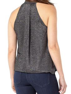Draped Crossover Sleeveless Top