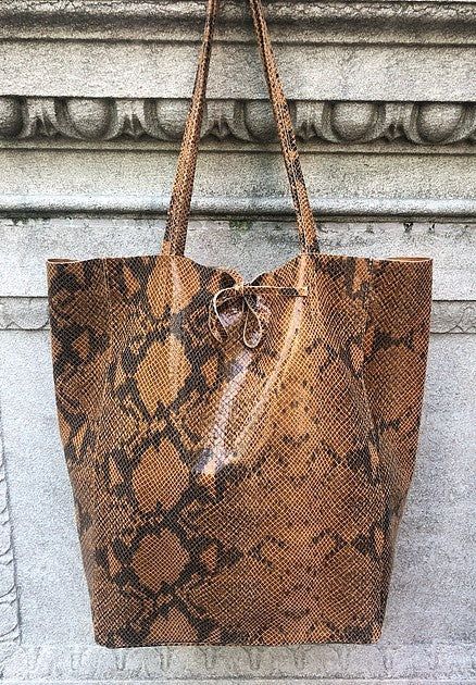 Snake Print Leather Tote