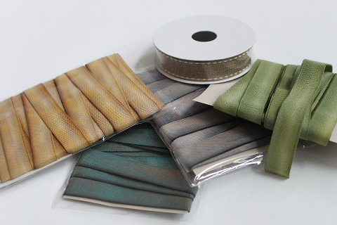 photo of natural ribbon in a variety of colours
