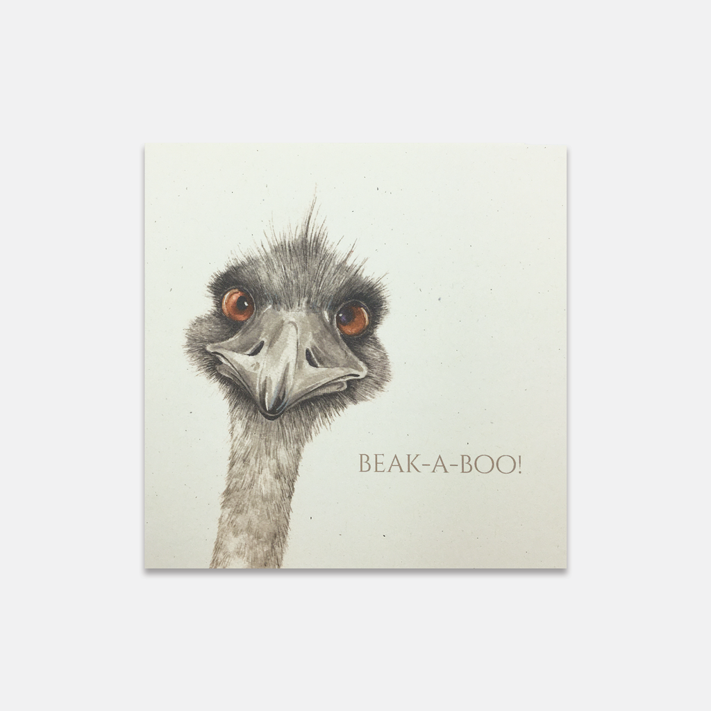 Magnificent Beasts - Beak-A-Boo Ostrich Greeting Card