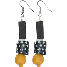 Load image into Gallery viewer, The Bridge Fair Trade Handmade Modern Times Earrings in Mustard from Ghana