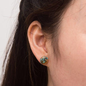 The Bridge Fair Trade Handmade Ezra Circle Turquoise Stud Earrings