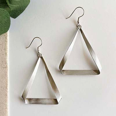 The Bridge Fair Trade Handmade Folded Triangle Hoop Earrings from India