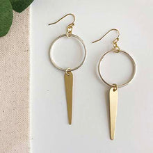 Load image into Gallery viewer, The Bridge Fair Trade Handmade Elongated Leaf Hoop Earrings from India