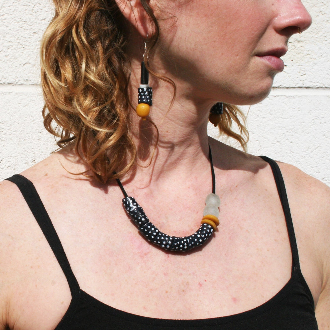 The Bridge Fair Trade Handmade Modern Times Earrings in Mustard from Ghana