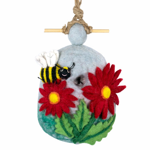 The Bridge Fair Trade Handmade Felt Bumblebee Birdhouse
