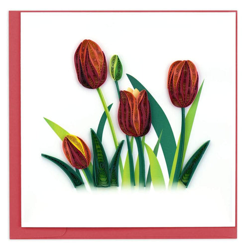 The Bridge Fair Trade handmade red tulip quilling card from vietnam