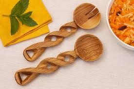 The Bridge Fair TRade Handmade Olivewood Twisted Serving Spoons from Kenya