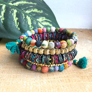 The Bridge Fair Trade Handmade Kantha Spiral Fractal Bracelet