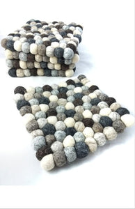 The Bridge Fair Trade Handmade Felt Ball Trivet Natural from Nepal