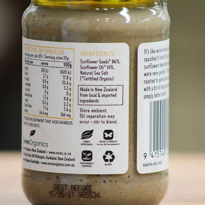 Ceres Organics - Sunflower Butter - Ingredients