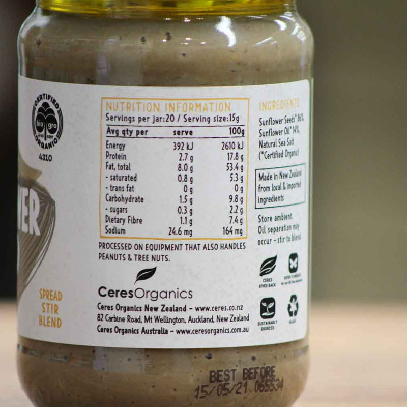 Ceres Organics - Sunflower Butter - Nutritional Information