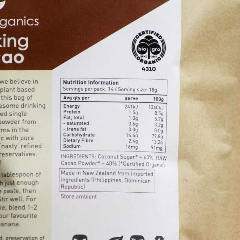 Ceres Organics - Drinking Cacao - Ingedients and Nutritional Information