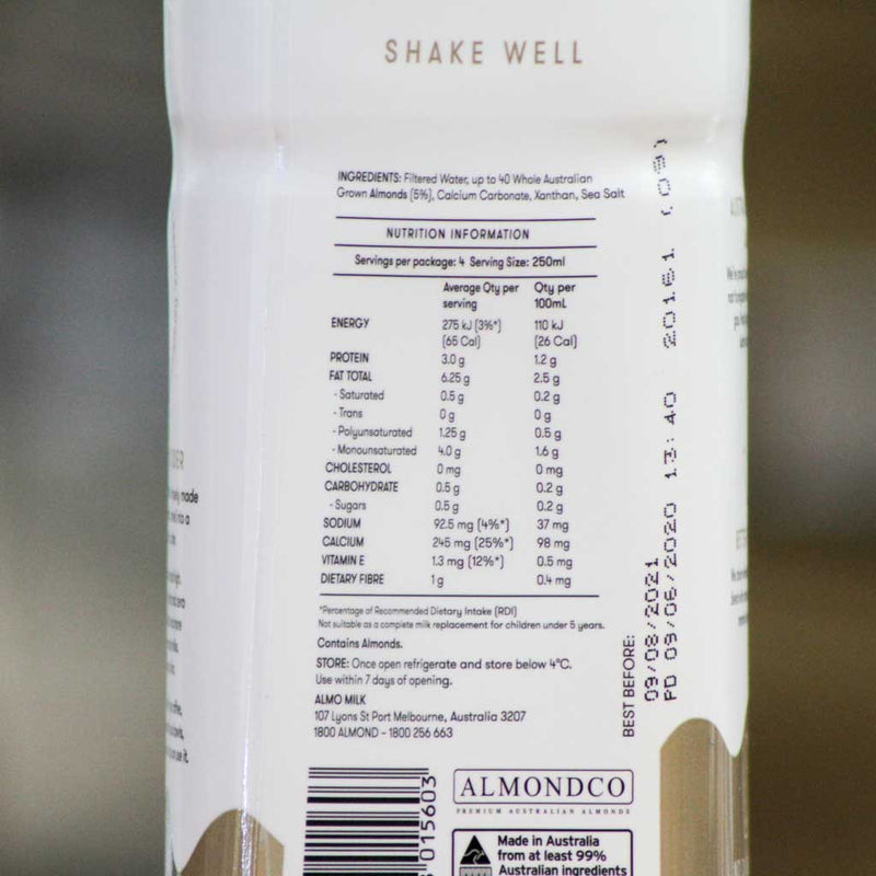 Almo - Almond Milk - Nutritional Information