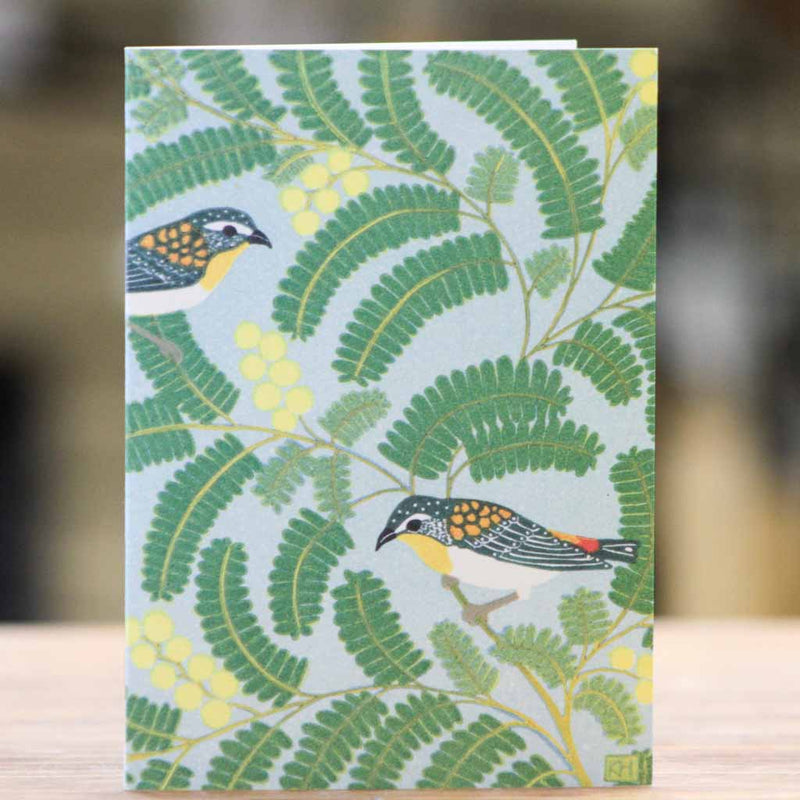 Earth Greetings - Pardalotes & Wattle