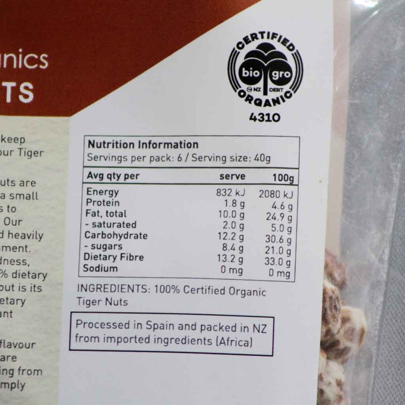 Ceres Organics - Tiger Nuts - Ingedients and Nutritional Information