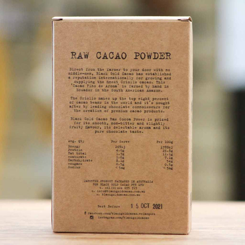 Black Gold Cacao - Black Gold Criollo Cacao Powder - Nutritional Information