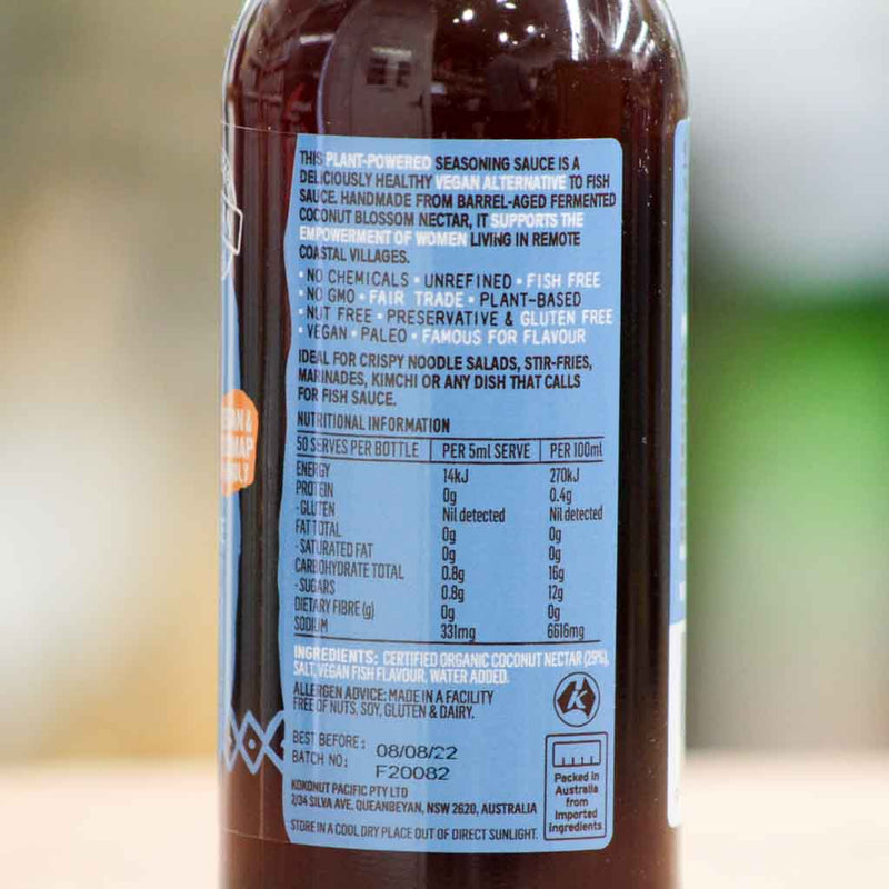 Niulife - Fysh Sauce - Ingedients and Nutritional Information