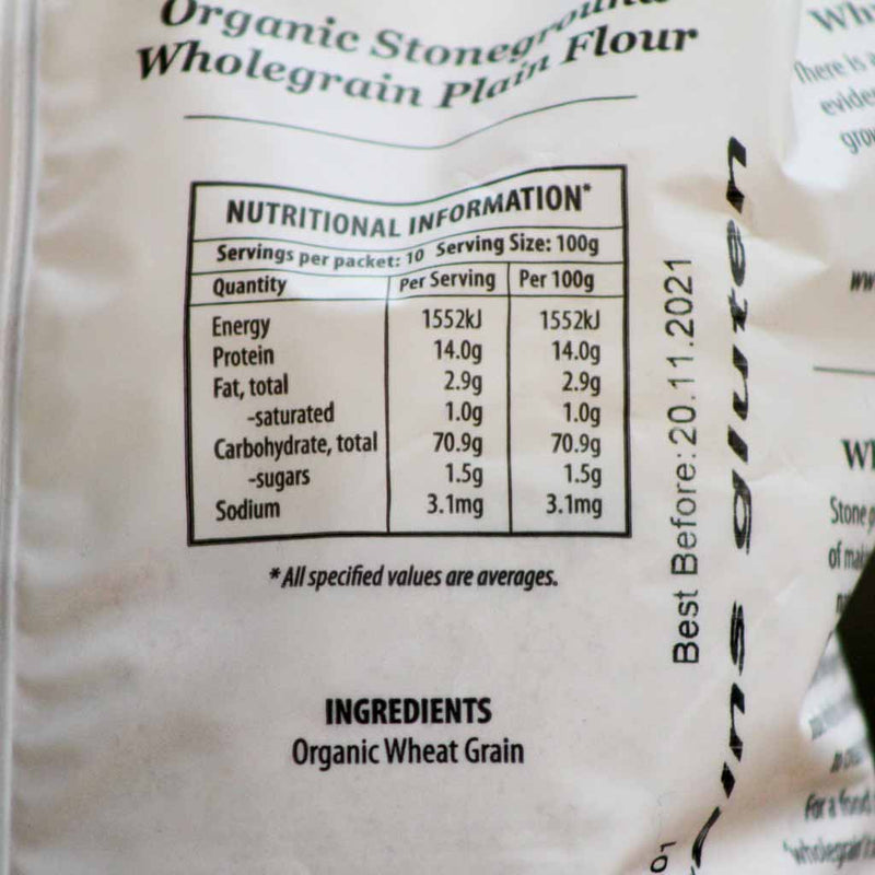 Kialla - Wholegrain Plain Flour - Ingedients and Nutritional Information