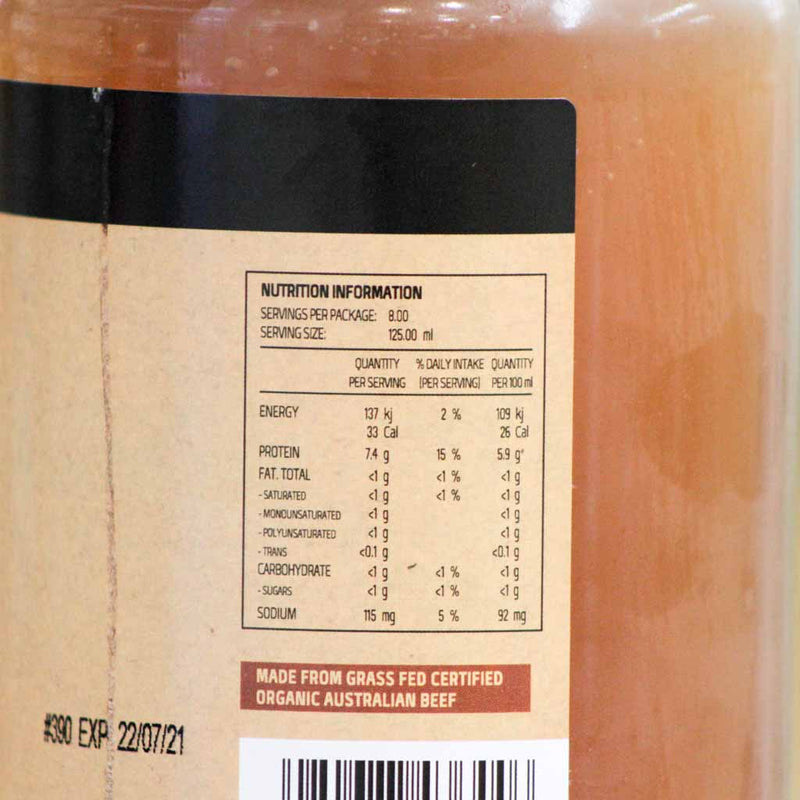 Cherry Tree Kitchen - Fridge | Beef Bone Broth - Nutritional Information