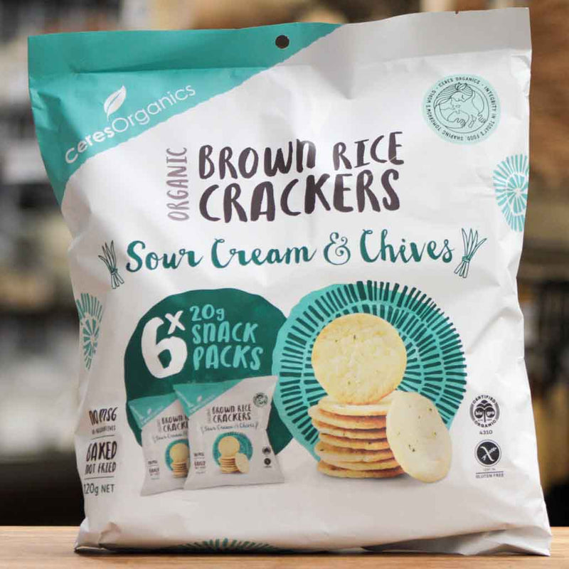 Ceres Organics - Brown Rice Crackers Snack Packs Sour Cream & Chives