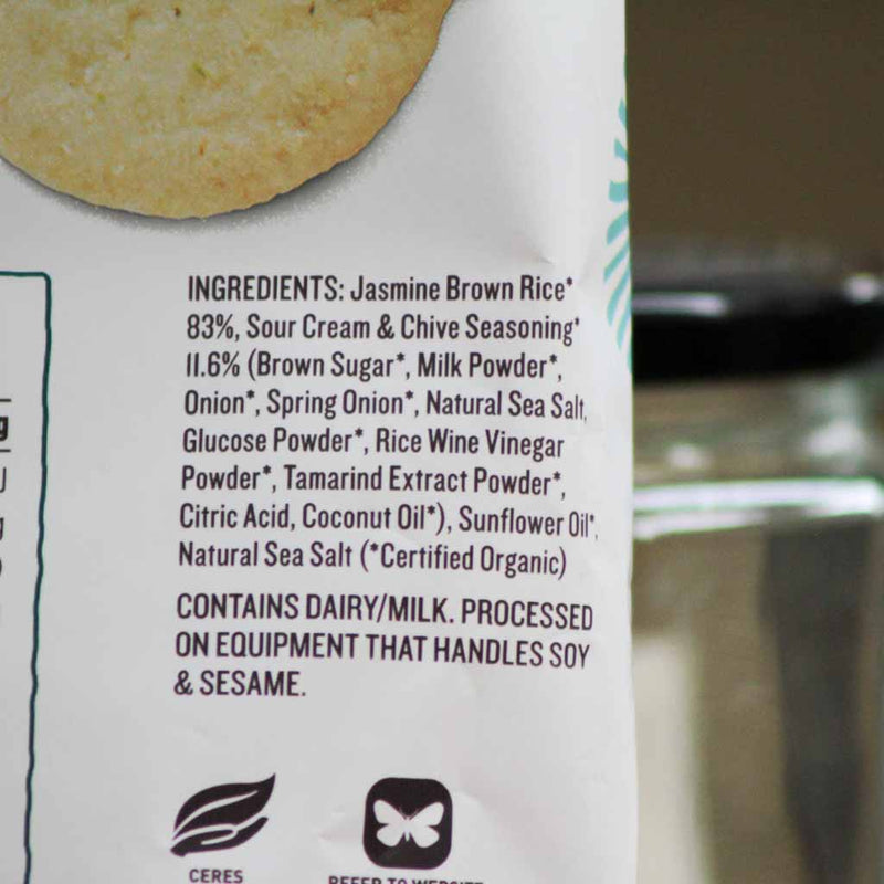 Ceres Organics - Brown Rice Crackers Snack Packs Sour Cream & Chives - Ingredients