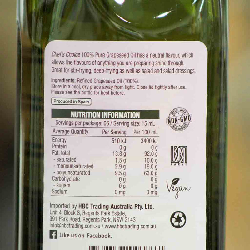 Chefs Choice - Grapeseed Oil - Ingedients and Nutritional Information