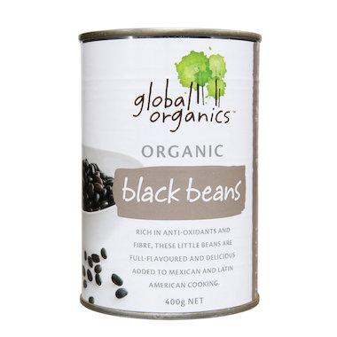Global Organics - Beans Black Organic (canned) 400g