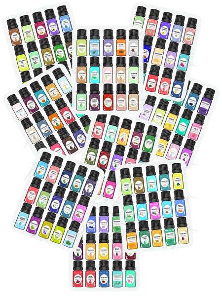 Cartoon Essential Oil Bottles {133 different oil stickers}