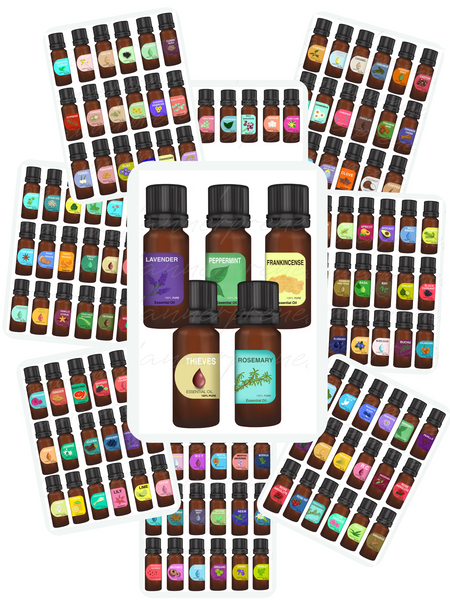 Realistic Essential Oil Bottles {132 Stickers}