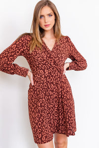 Animal Print Faux wrap dress - Branches and Blossoms