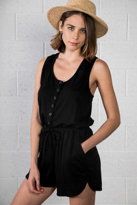 Racerback Short Romper in Black