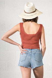Boho inspired cropped knit tank in rust