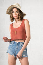 Load image into Gallery viewer, Boho inspired cropped knit tank in rust