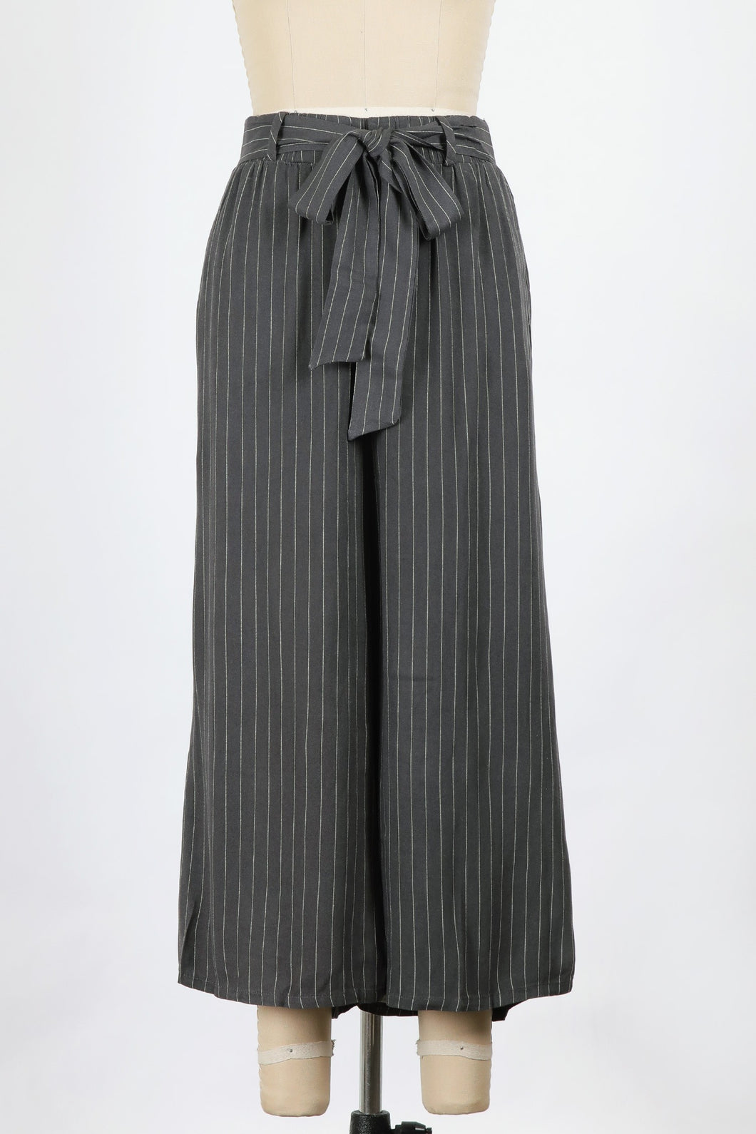Stripe wide leg pants with belt - Branches and Blossoms
