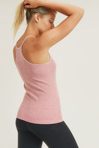Seamless Ribbed Mineral-Washed Cami Racerback Tank Top in Pink