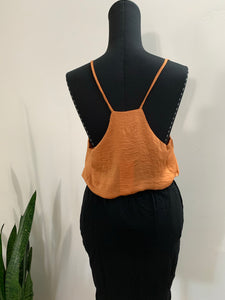 Back of raccerback thin strap tank in rust color