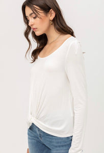Long sleeve knot waist top in Cream - Branches and Blossoms