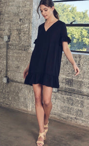 V-Neck Ruffle Dress