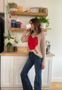 Soft large knit heart sweater - Branches and Blossoms