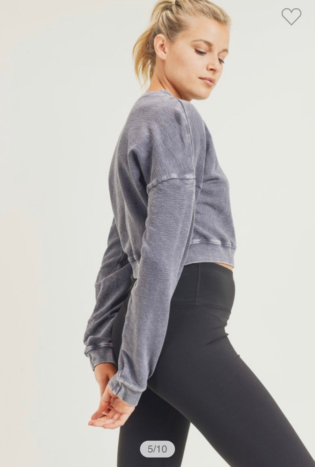 Cropped mineral washed sweatshirt in plum gray