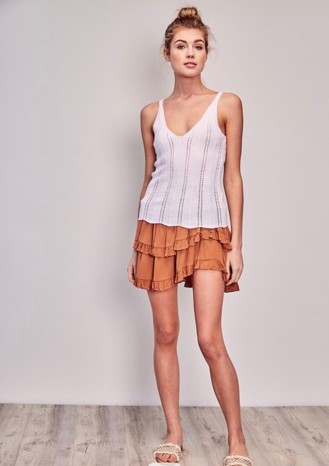 Knitted white tank with racer back by mustard seed