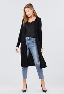 Lightweight duster with pockets in black