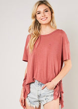 Load image into Gallery viewer, Heathered knit tee with ruffle sides