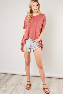 Heathered knit tee with ruffle sides