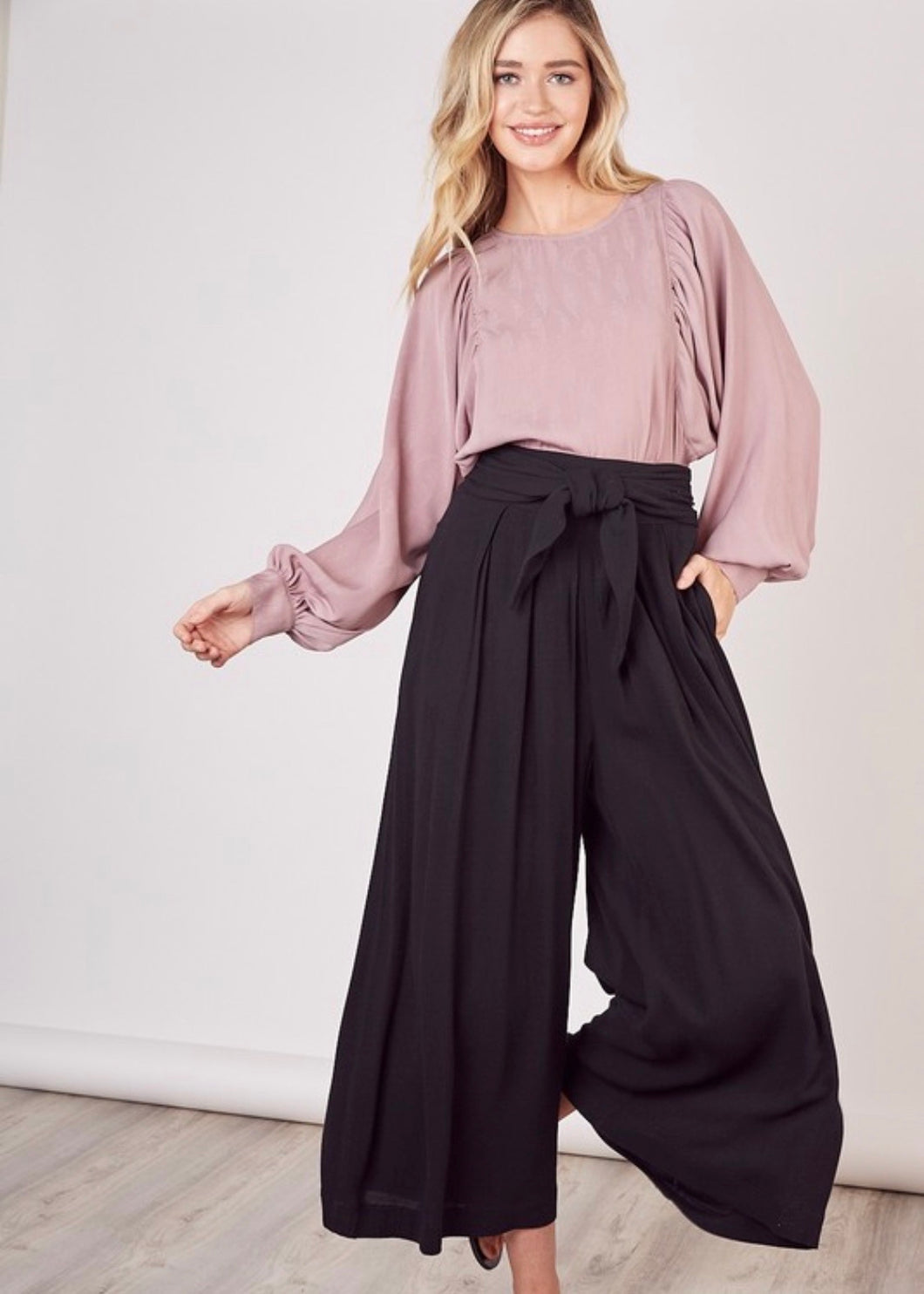 Cropped palazzo pants with tie waist
