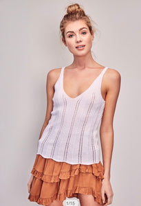 White knitted neck tank with rust colored ruffled skirt