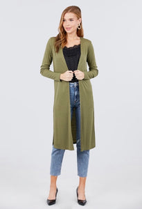 Olive Knee Length Duster