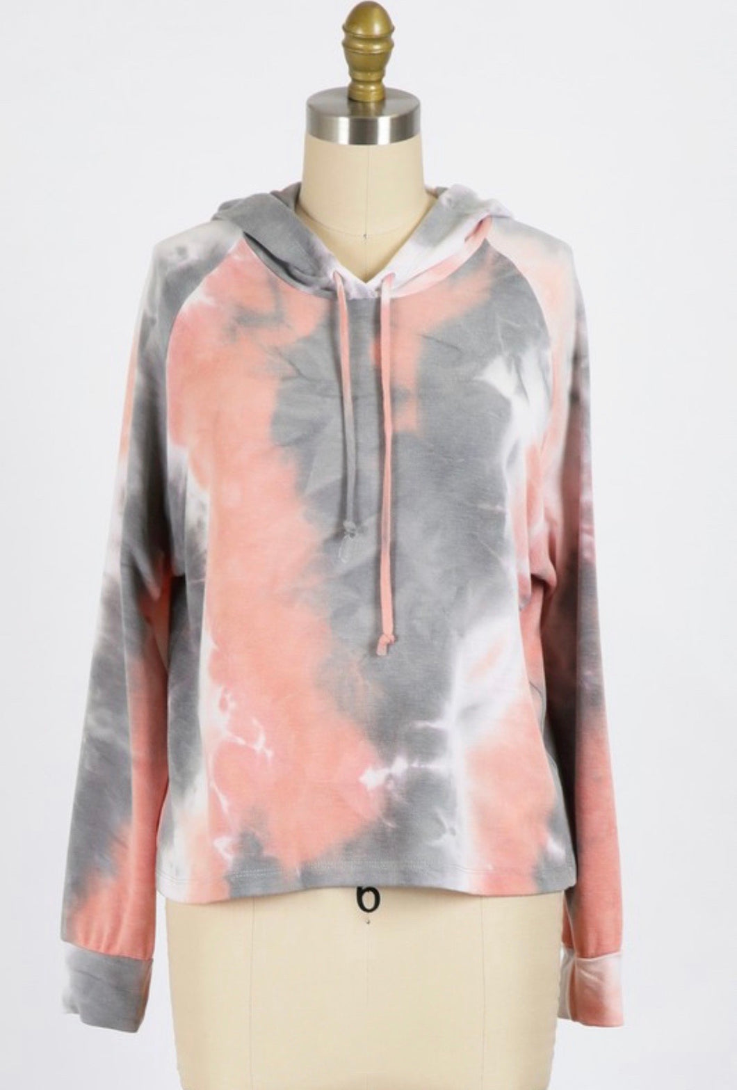 Blush/Grey Tie Dye Hoodie - Branches and Blossoms