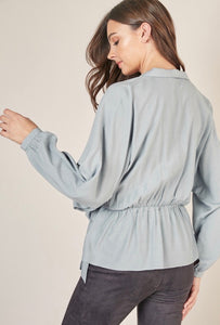 Side collar wrap top in Pale Aqua - Branches and Blossoms